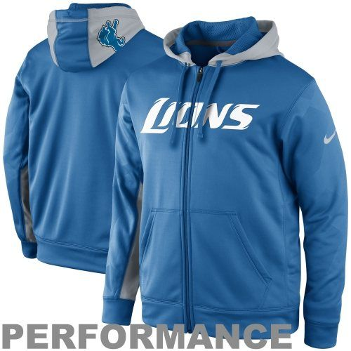 Pullover Hoodie Nike Detroit Lions KO Full Zip Performance Jacket - Light  Blue ... 239952dc7