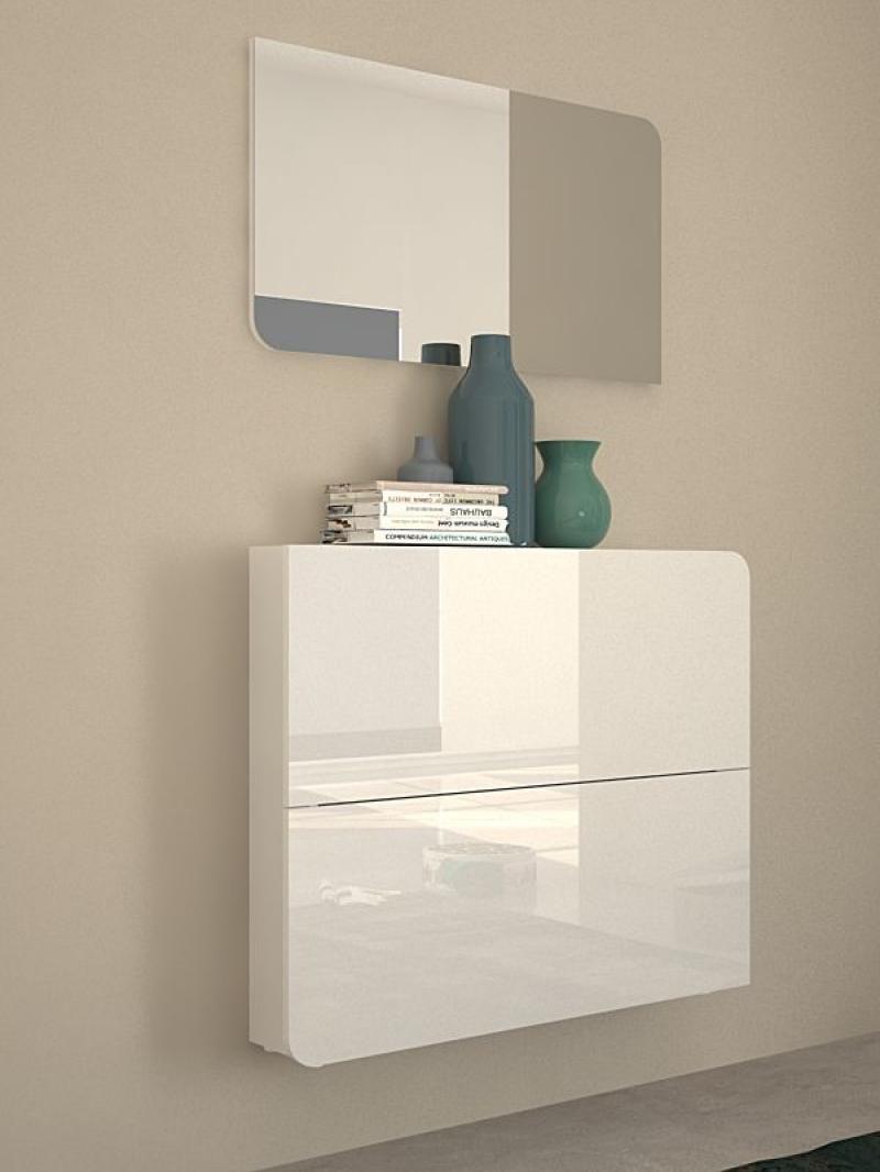 goccia, modern wall mounted shoe cabinet in white gloss finish