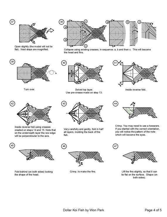 Koi fish diagram 4 of 5 money origami dollar bill art for Origami koi fish