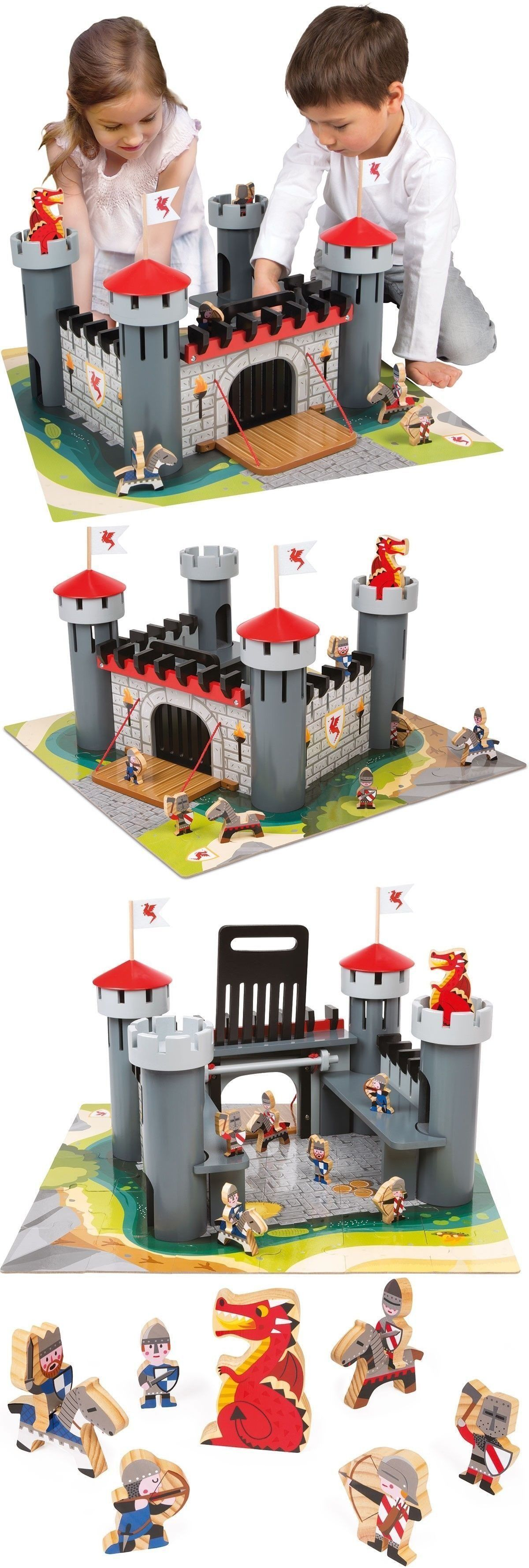 Wooden And Handcrafted Toys 1197 Alex Wooden Dragon Castle Set New
