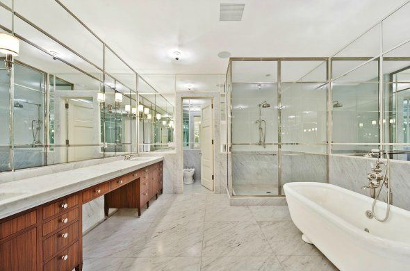This TriBeCa home, on sale for $17.5 million, has a master bath made completely of glass and marble.