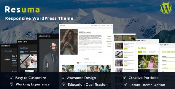Wordpress Resume Theme Resuma  Resume Portfolio Responsive WordPress Theme  Pinterest .
