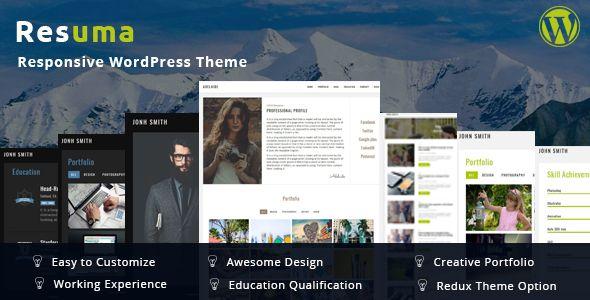 Resume Portfolio Responsive WordPress Theme - wordpress resume themes