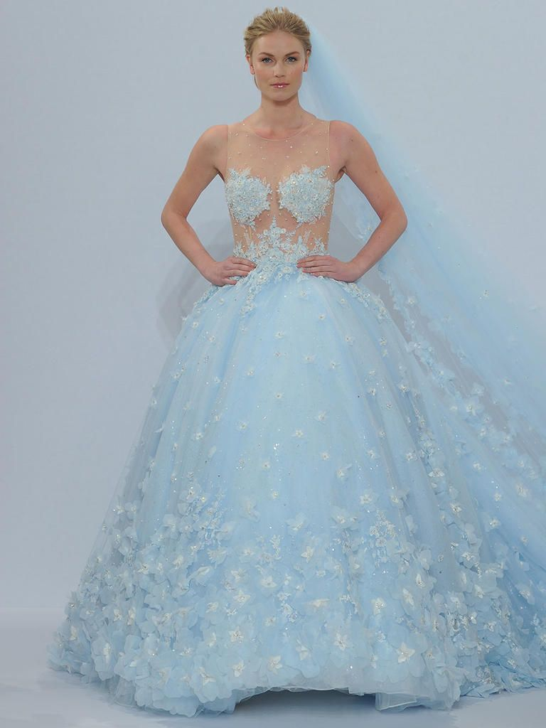 Randy fenoli spring 2018 shimmering wedding dresses make for Baby blue wedding guest dress