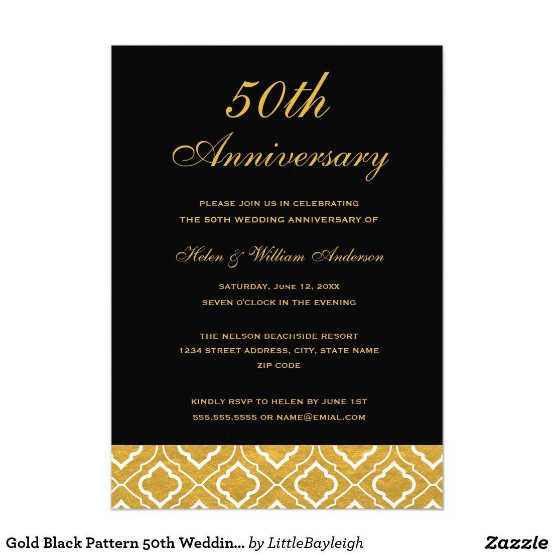 Gold Black Pattern 50th Wedding Anniversary Invitation Zazzle Com Wedding Anniversary Invitations Anniversary Invitations 50th Wedding Anniversary Invitations