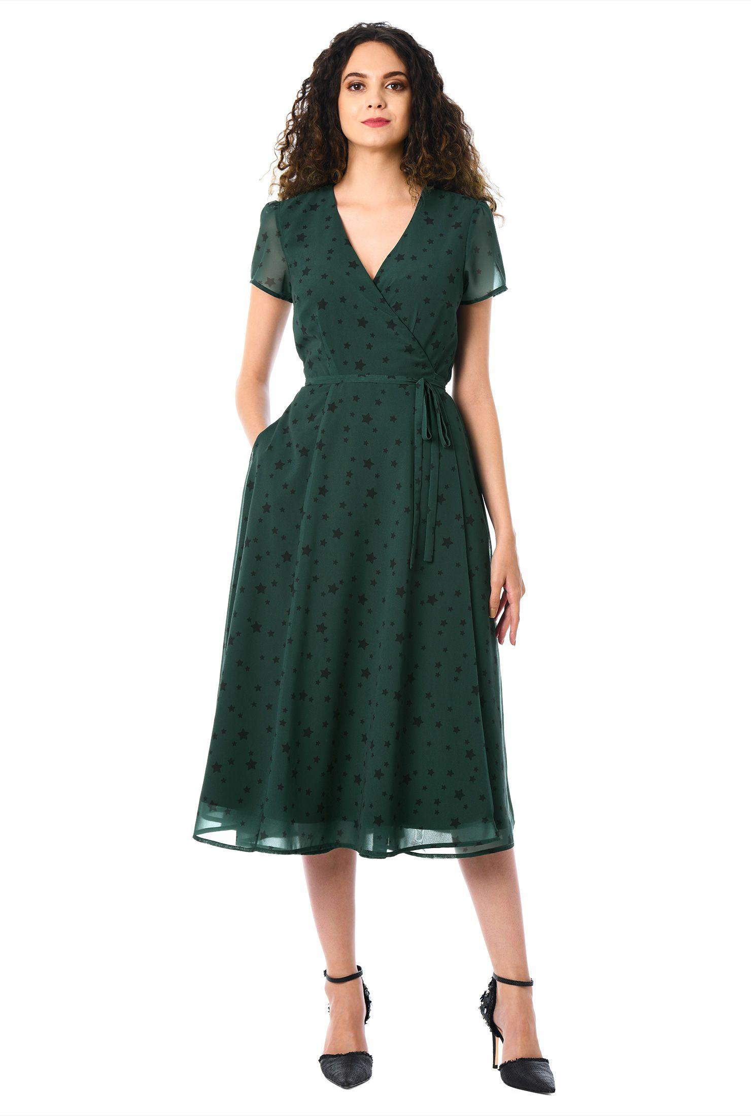 Spring Women Green Floral Printed V-Neck Dress Vintage Dress Bird Printed Midi Dress