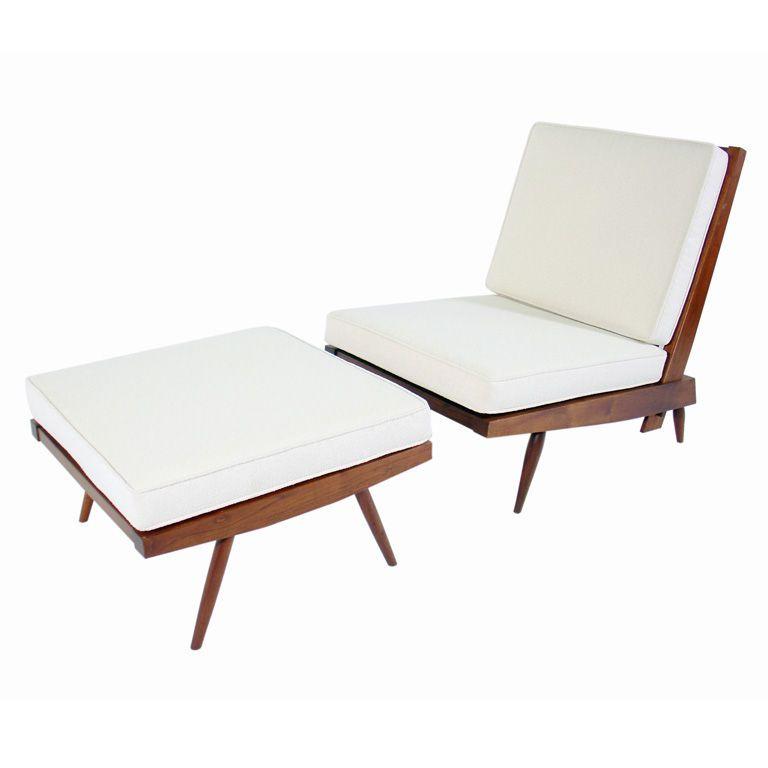George Nakashima Lounge Chair And Ottoman
