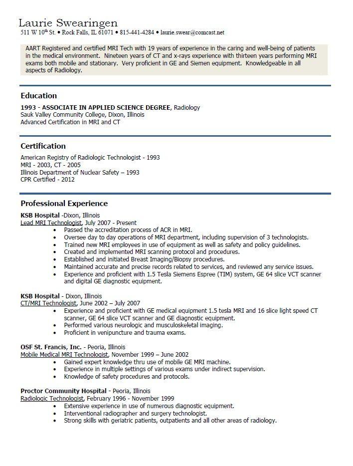 Mri Technician Resume Examples Http Resumesdesign Com Mri Technician Resume Examples Resume Format In Word Resume Examples Surgical Technician