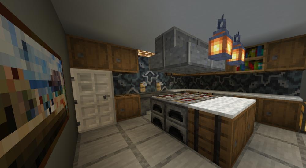 Glazed Terracotta Makes A Nice Backsplash Detailcraft Minecraft Room Minecraft Kitchen Ideas Minecraft House Designs
