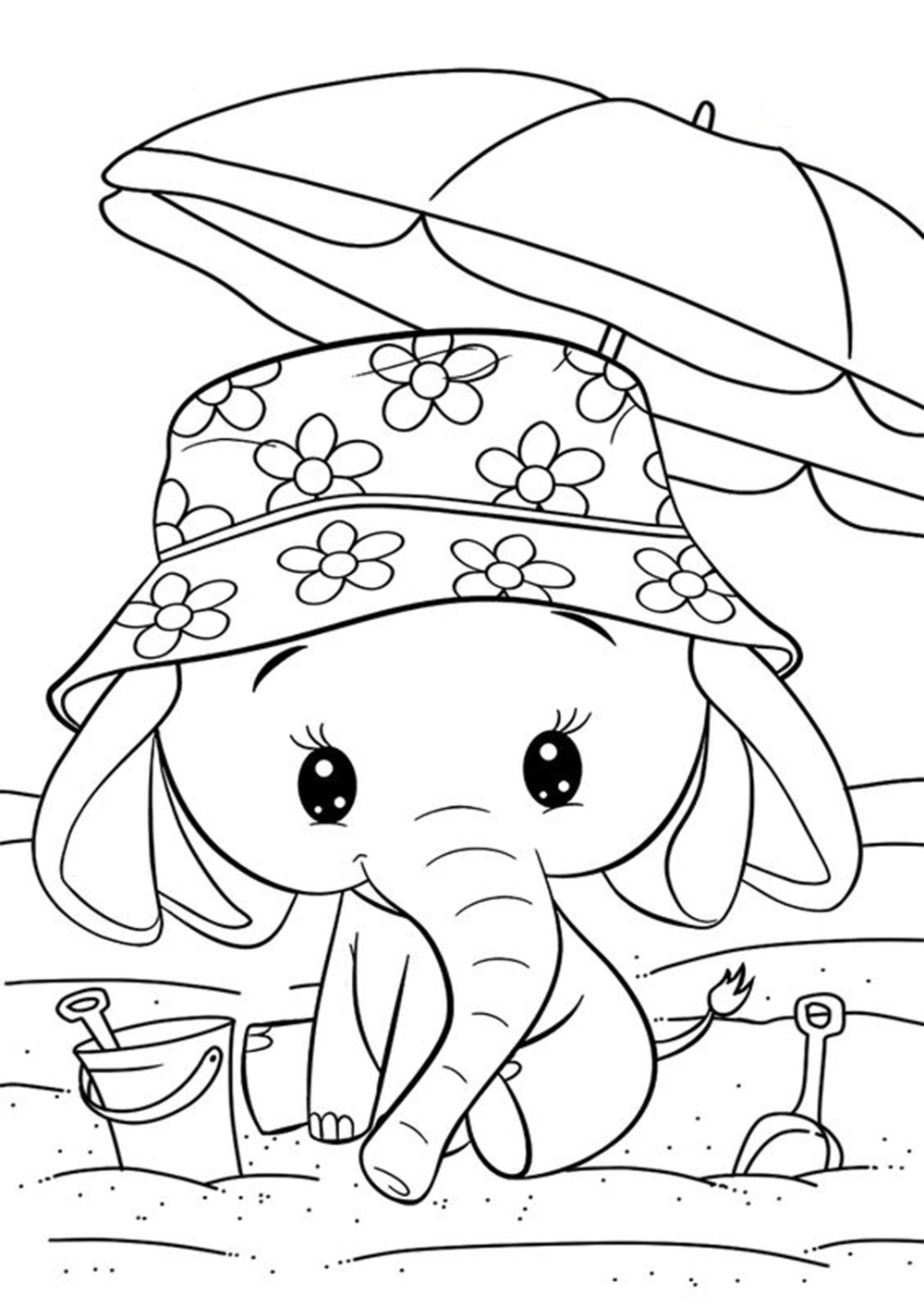 Cool Easy Coloring Pages Cute Elephant - PeepsBurgh