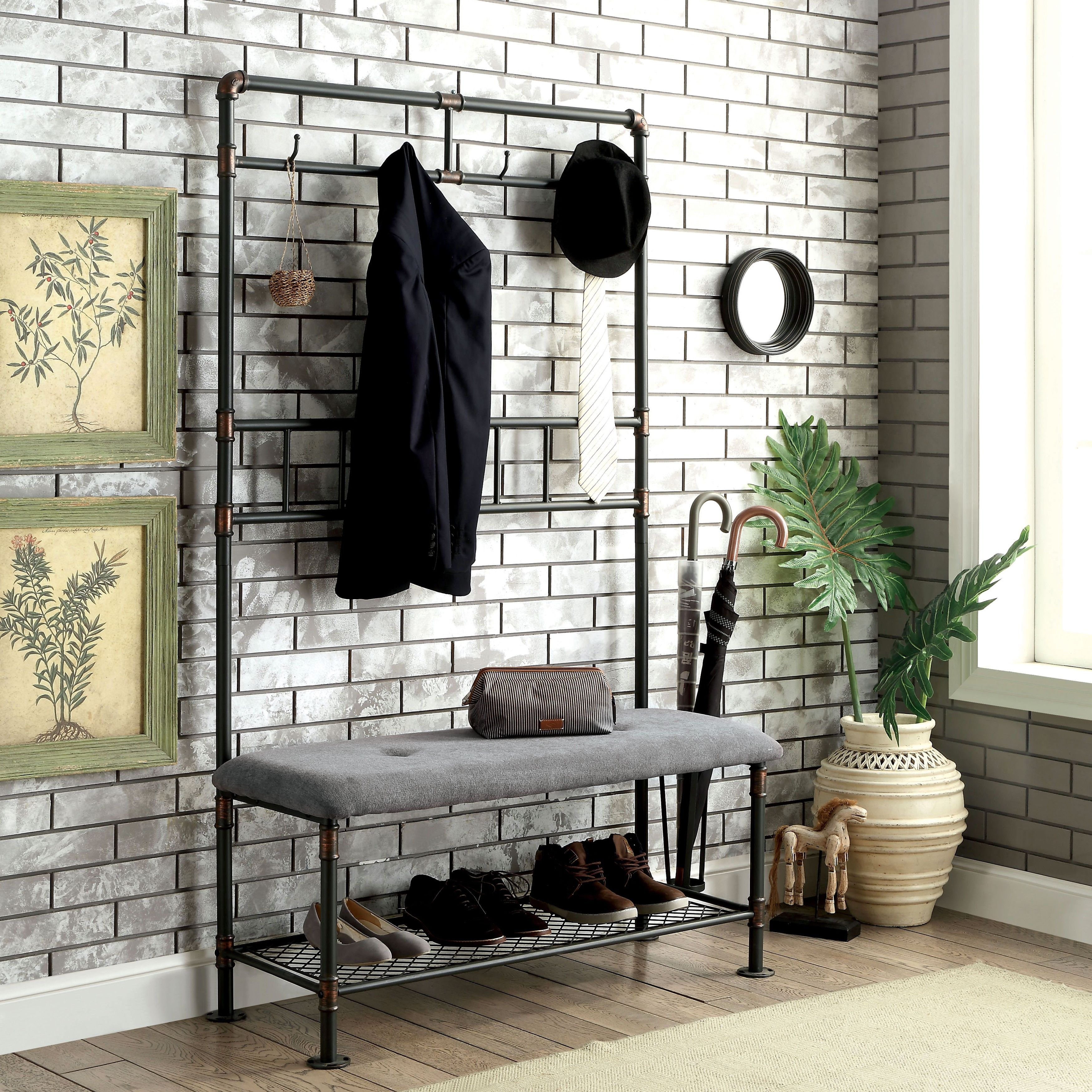 Hallway storage for coats  Furniture of America Revo Industrial PipeInspired inch Sand