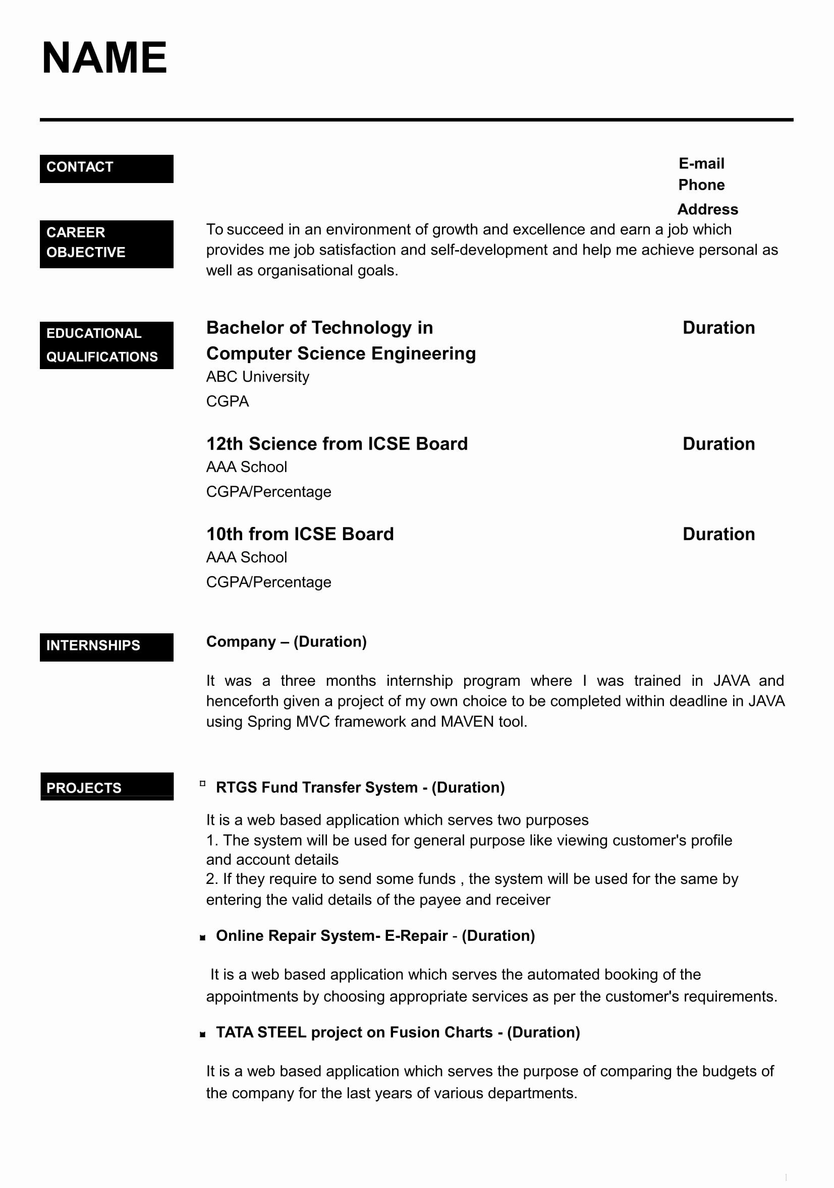 Resume Format For Freshers In Word