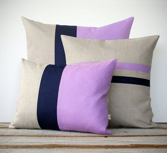 Items similar to Colorblock Stripe Pillow Set - Radiant Orchid & Navy Blue Striped Pillow and Color Block Pillow Set by JillianReneDecor (Set of 3) - Modern on Etsy