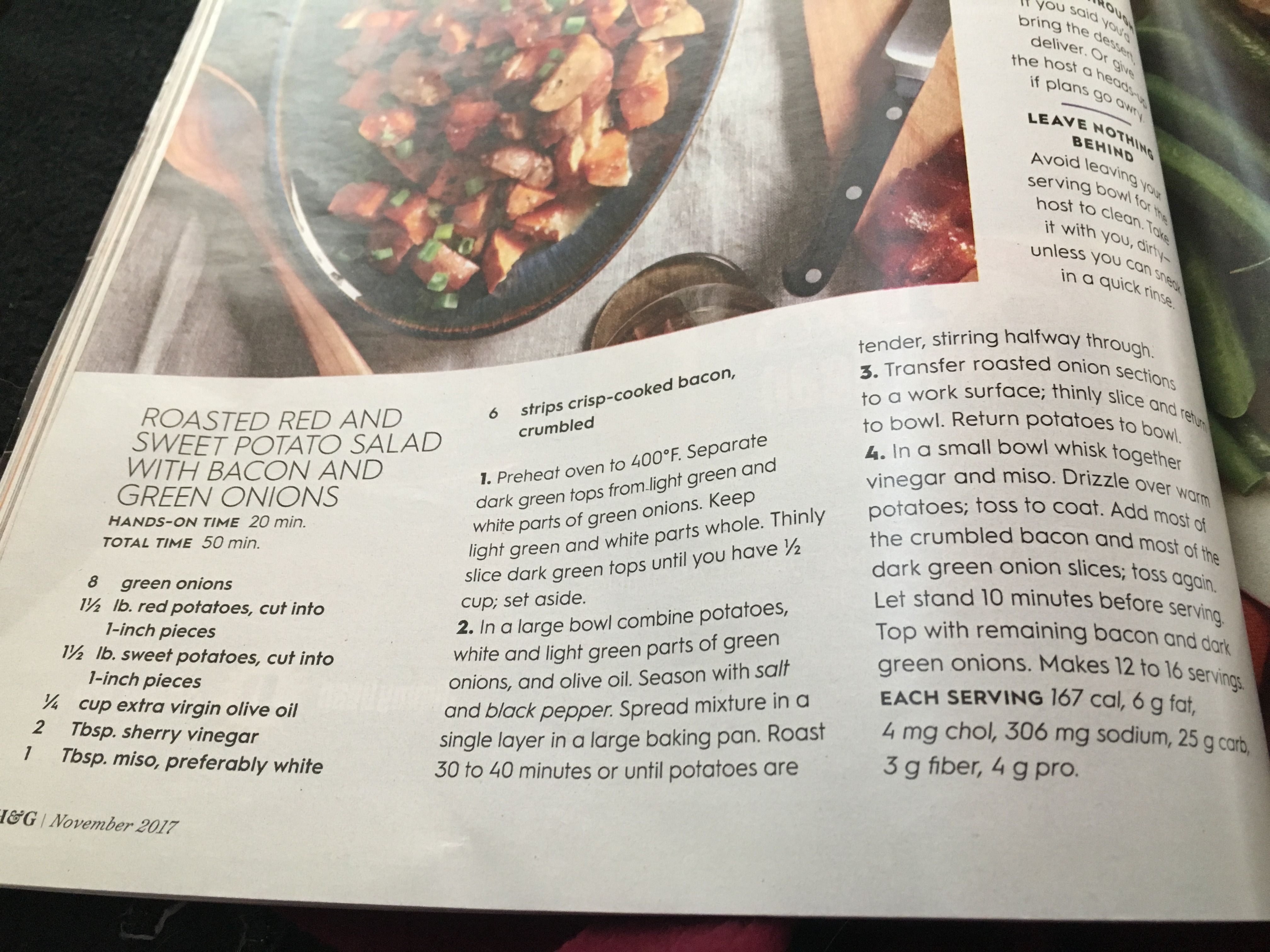 Roasted sweet and red potatoes salad with bacon and green onion ...
