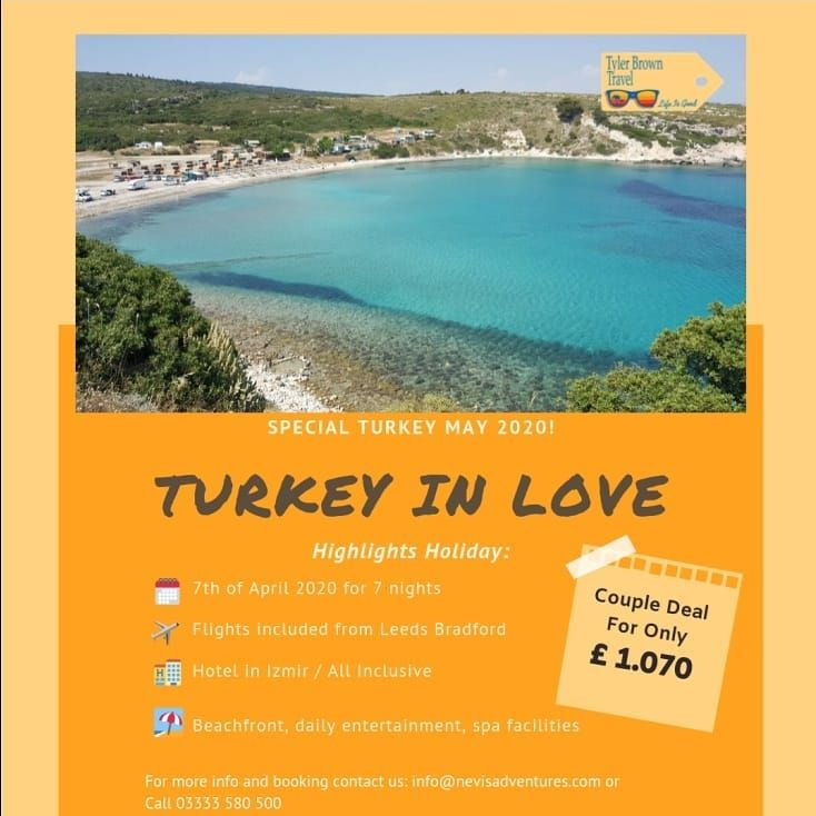 Turkey - couples holiday May 2020 2 adults 1070 Izmir Turkey...   Turkey - couples holiday May 2020 2 adults 1070 Izmir Turkey 6th May 7 nights All-inclusive Fly from Leeds Bradford Private beachfront location Daily entertainment Spa treatments Call 03333 580 500 Email info@ Click messenger button below for more info!
