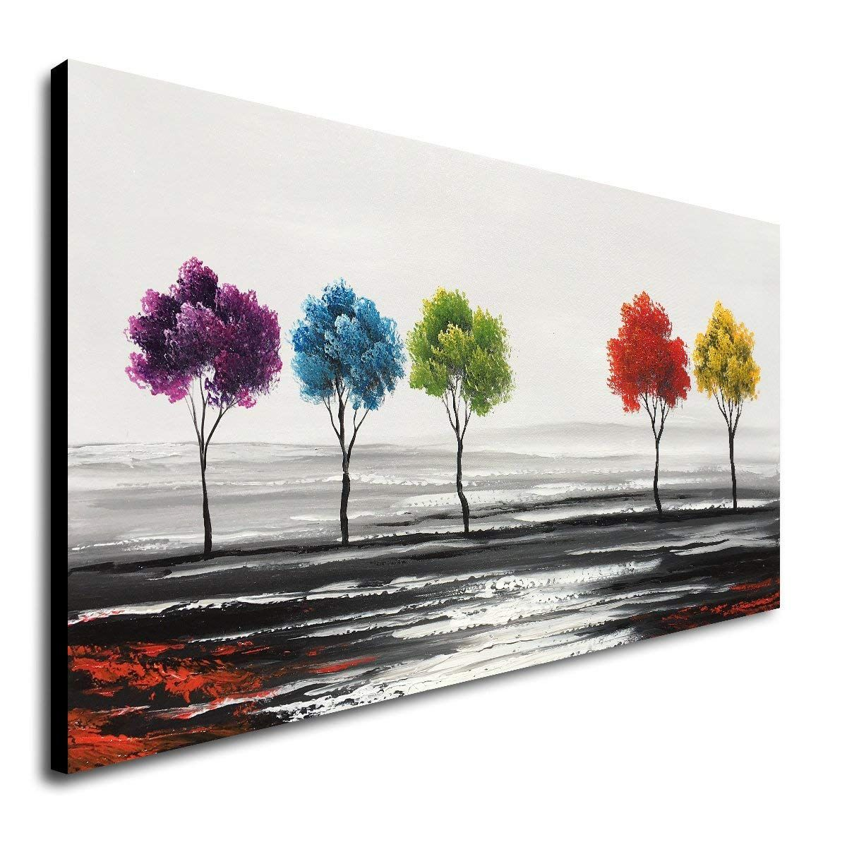 Handmade Colorful Tree Oil Painting On Canvas Modern Abstract Large Landscape Wall Art For Abstract Tree Painting Abstract Canvas Painting Tree Painting Canvas