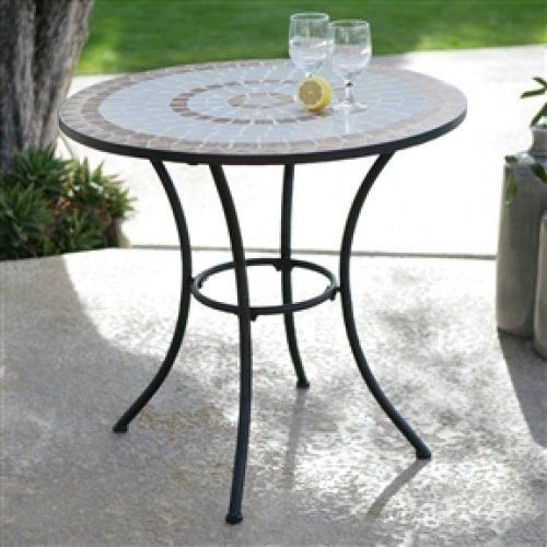 30 Inch Round Bistro Style Wrought Iron Outdoor Patio Table With Tile Top
