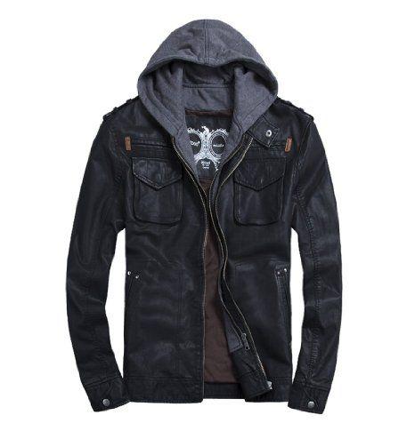 Amazon.com: THOOO Men's PU Leather Hoodie Coat Bomber Motorcycle Jacket: Clothing