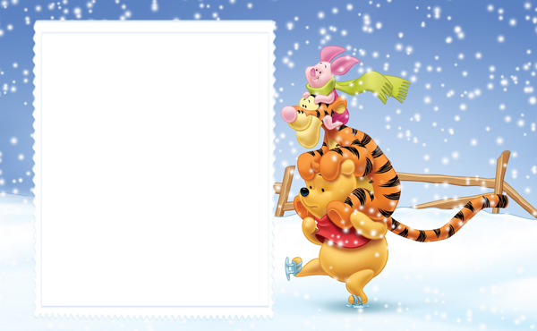 Cute Winter Kids Frame with Winnie the Pooh and Friends | Adobe ...