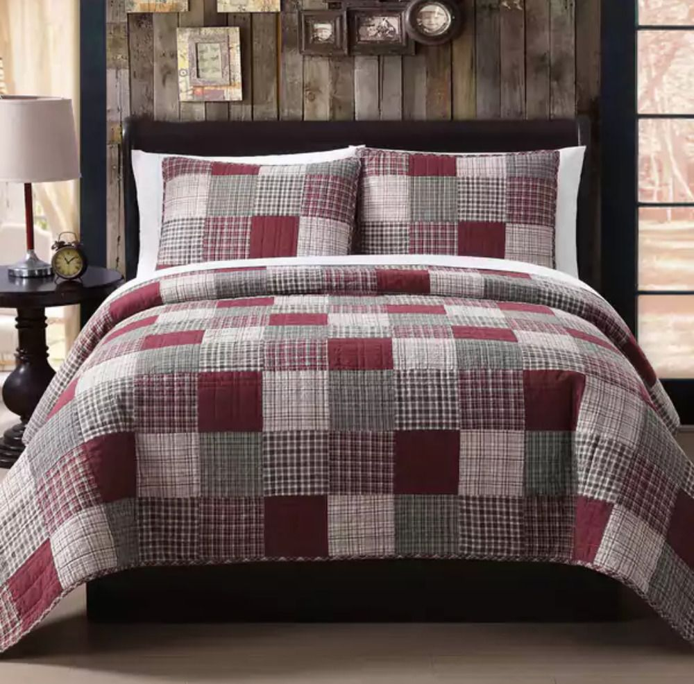 King Size Quilt Set 3 Pc Patchwork Red Rustic Lodge Western Decor Bedding Shams Home Garden Bedding Quilts Bedspreads Coverlets Home Quilts Quilt Sets Quilts for sale king size