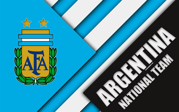 Download Wallpapers Argentina National Football Team 4k Emblem Material Design Blue White Abstraction Argentine Football Association Afa Logo Football Design De Materiais Times De Futebol Brasao