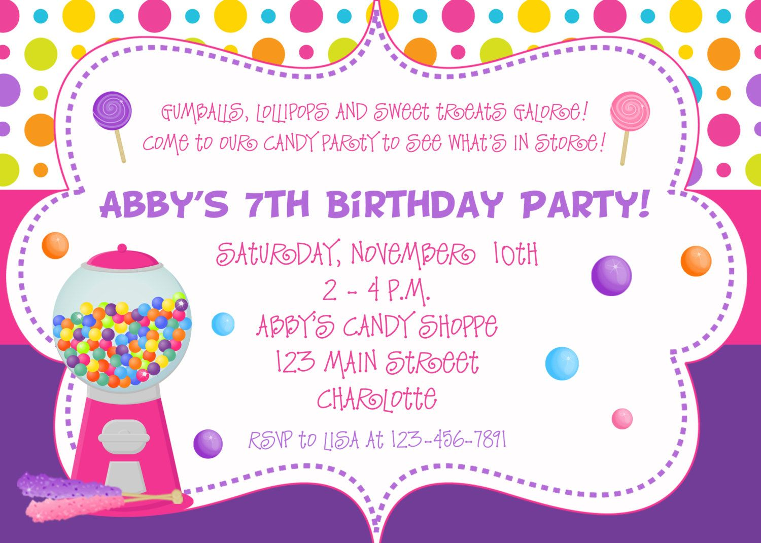 Candy Birthday Party Invitation You Print Or I 1000 Via Etsy