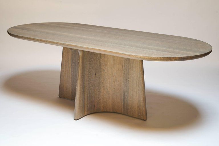 Button Racetrack Dining Table In Oxidized And Cerused Rift White