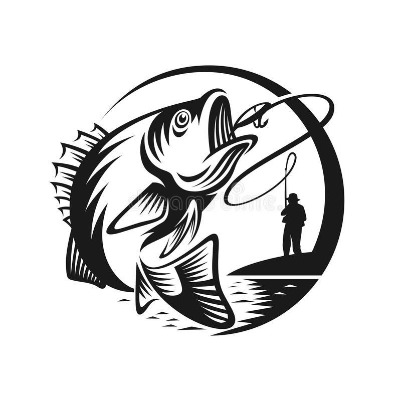Bass Fishing Logo Template Illustration Stock Vector Illustration Of Food Labels 104115421 Grand Canyon Horse Sho Fish Logo Fish Art Vector Illustration