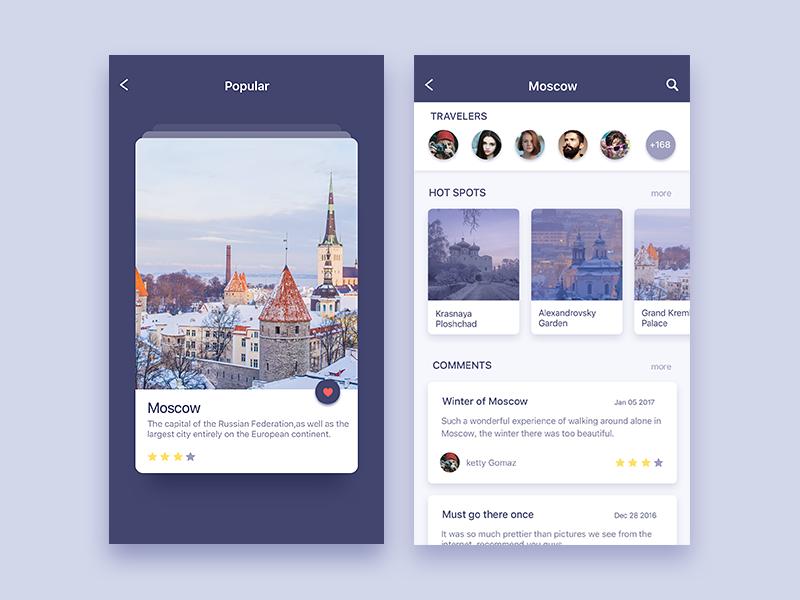 Traveler Trip planning app, App design inspiration