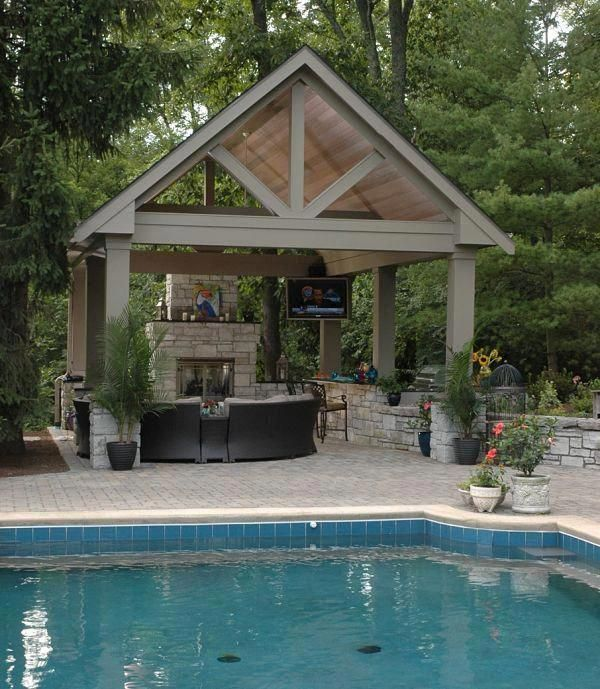 A Tall Backyard Pavilion With A Bar Tv Fireplace And Outdoor Kitchen Creates A Poolside Outdoor Living Space Haven Outdoorkitchen Outdoor Remodel