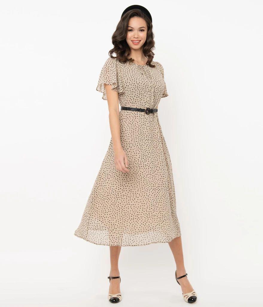 Vintage Style Beige Black Dotted Midi Dress In 2021 Vintage Midi Dresses Dresses Vintage Fashion [ 1023 x 879 Pixel ]