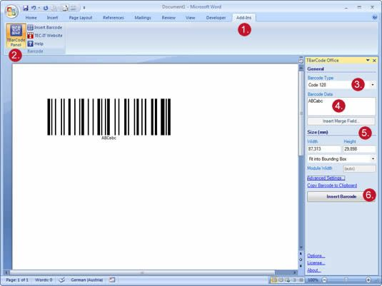 Insert Barcodes into Microsoft Word with TBarCode Office | Microsoft