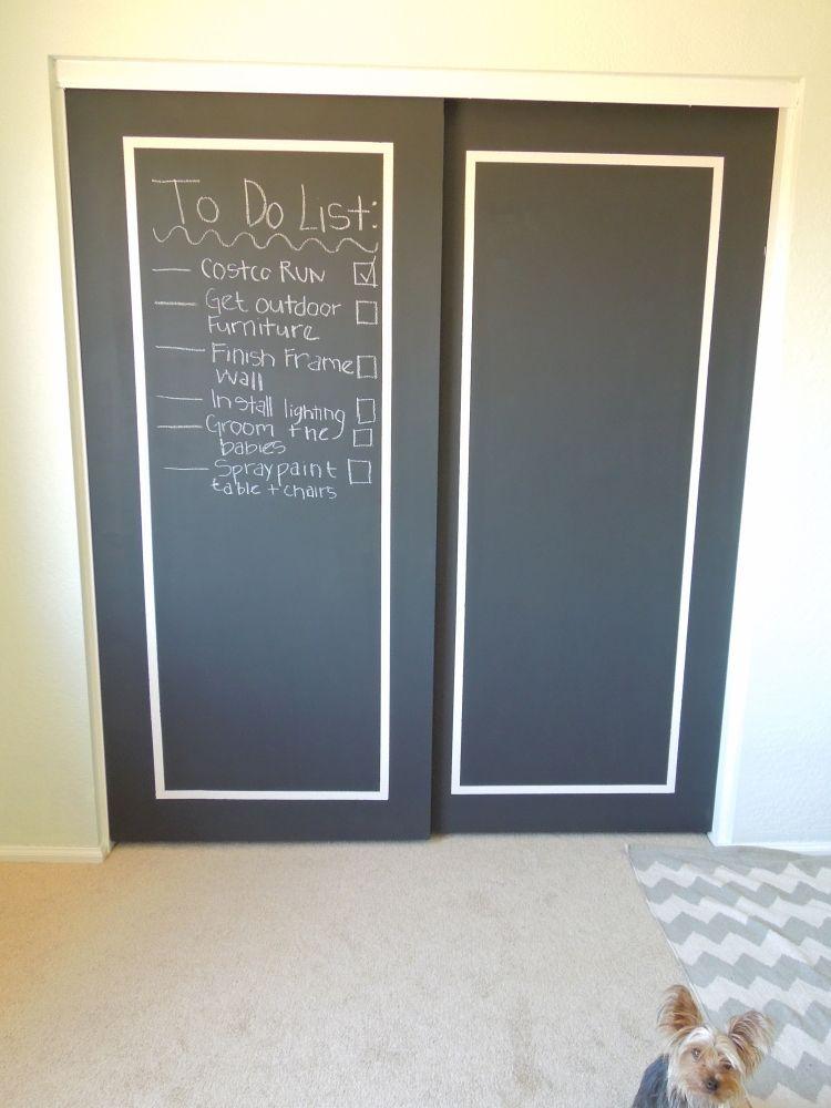 Chalkboard Doors Dyi Instructions Closet Doors Painted Diy Closet Doors Closet Decor