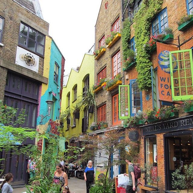 The #brightly coloured Neal's Yard in #CoventGarden will cheer up any dreary day. Great photo by @thegirlonthemoveblog #LoveGreatBritain #London