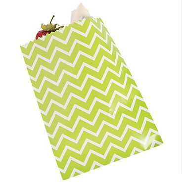 12 Green Chevron Cake Bags #13627275