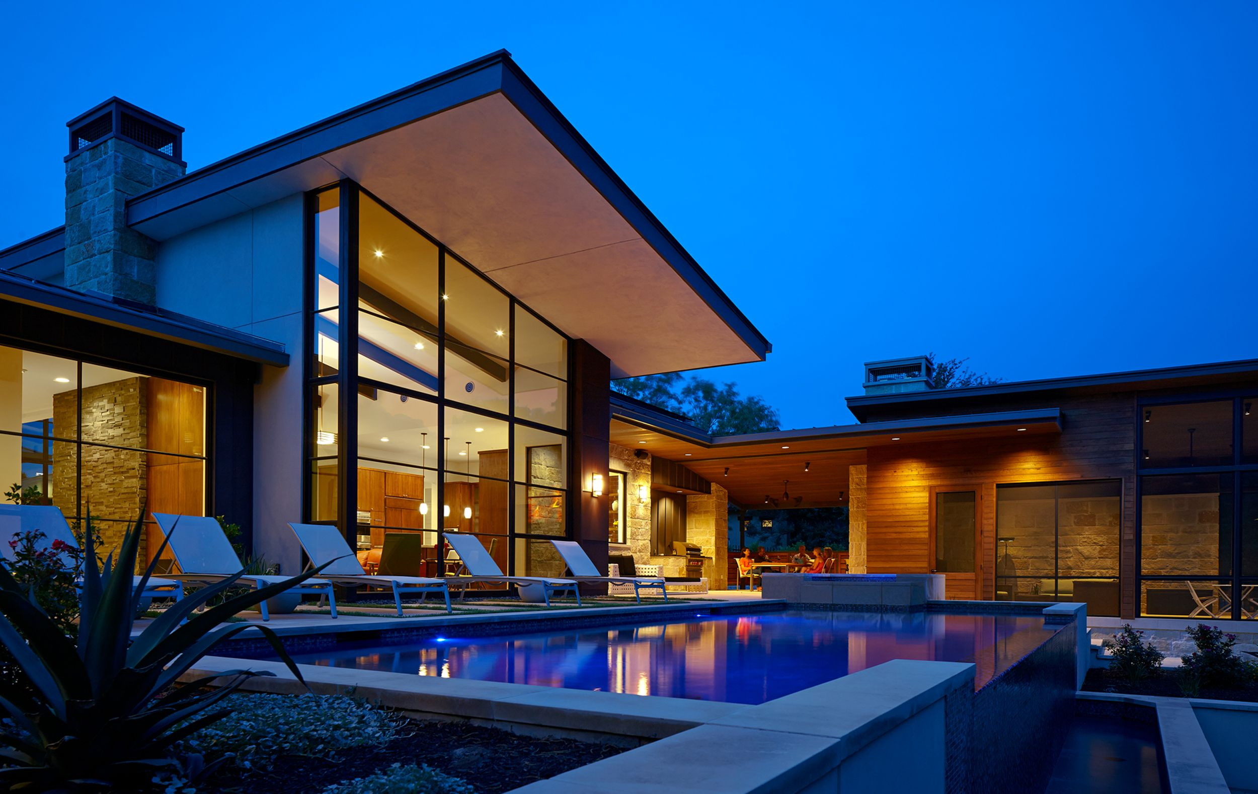 Pool outdoor living of the caslano residence - Ranch americain poet interiors houston ...