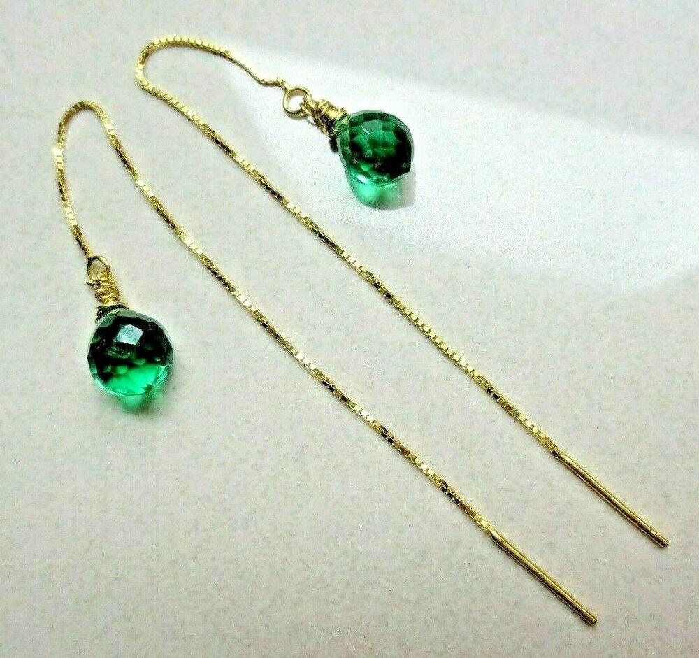 Green Gem Dangle Earrings