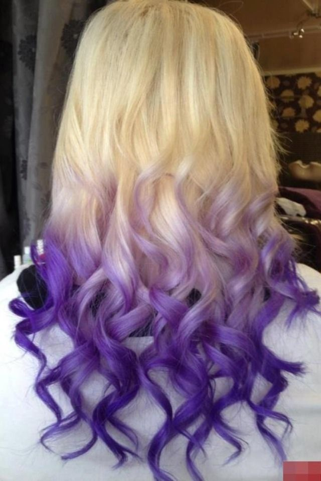 Blonde And Purple Hair Dip Dyed Ends Favorite Places Spaces