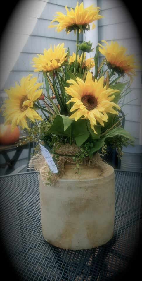 Sunflowers In An Old Crock Spring Summer Pinterest