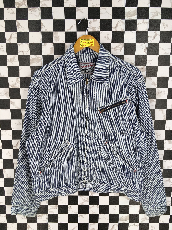 Vintage 90s Sugar Cane Denim Jeans Jacket Plaid Checkered Blue Etsy Denim Coat Denim Jean Jacket Denim Fashion [ 3000 x 2250 Pixel ]