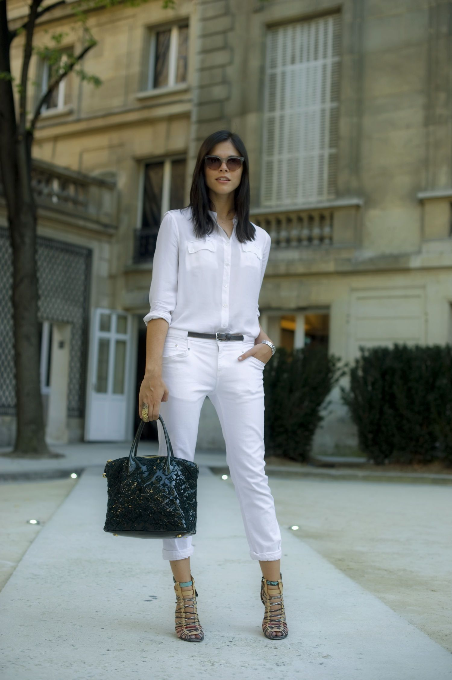 White Jeans, a White Blouse, and Brown Sandals