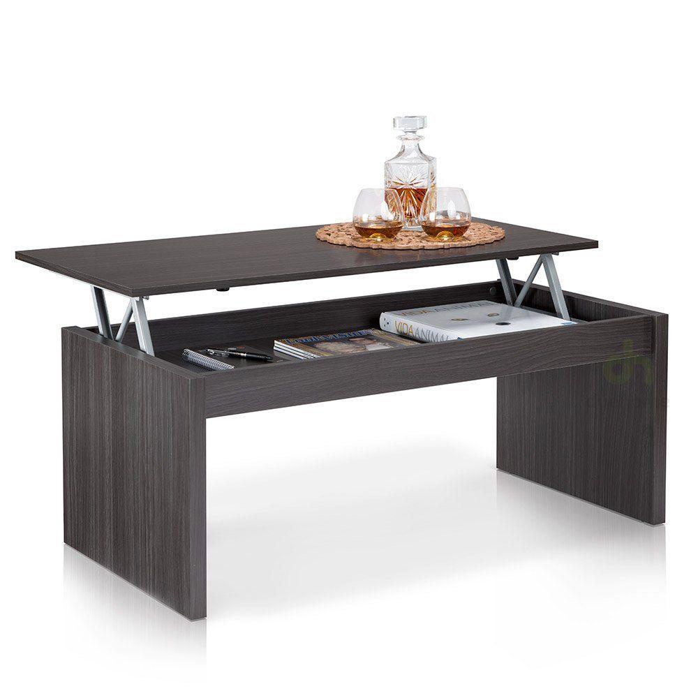 Due Home Table Basse Grise Avec Plateau Relevable Amazon Fr