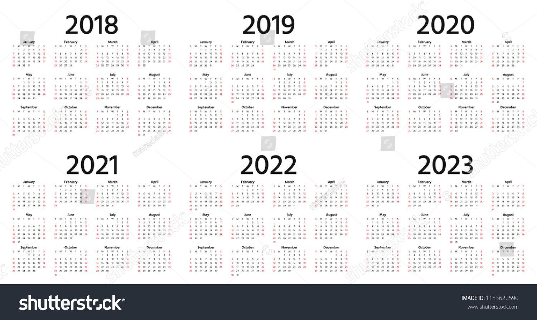 Calendar 2019 2018 2020 2021 2022 2023 Year Vector Week