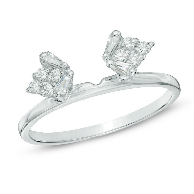 14 ct tw baguette and round diamond solitaire enhancer