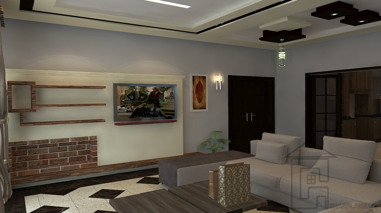 Tv lounge setting of a house in lahore pakistan where the décor is