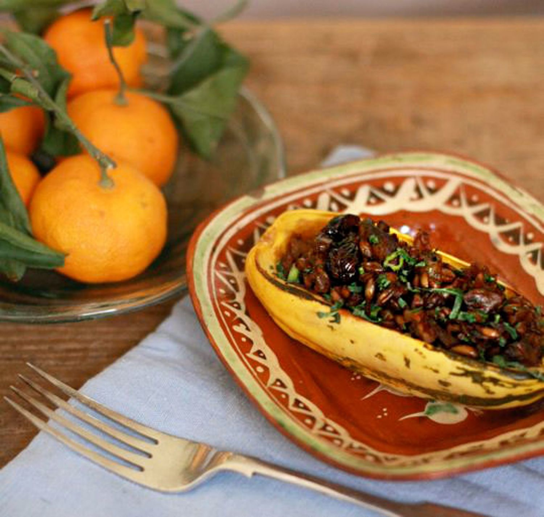 Vegan Thanksgiving Recipe: Delicata Squash Stuffed with Mushrooms, Farro, Pecans & Dried Cranberries