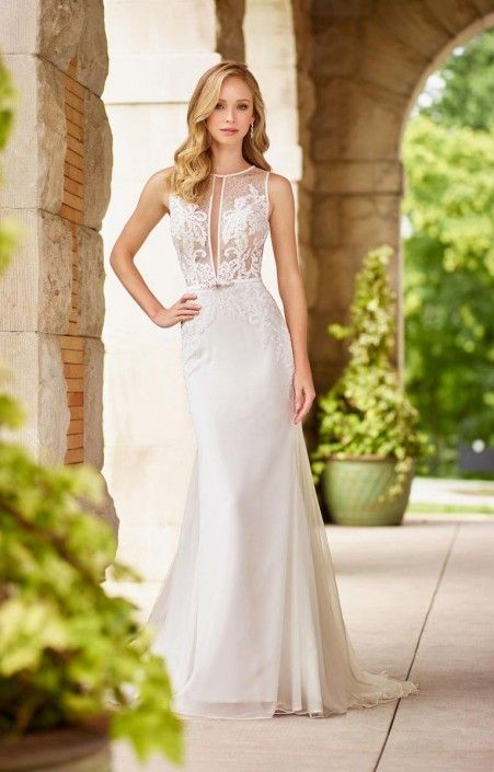 eb099676cd20 Style 118134 from Enchanting by Mon Cheri is a sophisticated sleeveless fit  and flare informal wedding gown in embroidered applique, lace, and beading  over ...