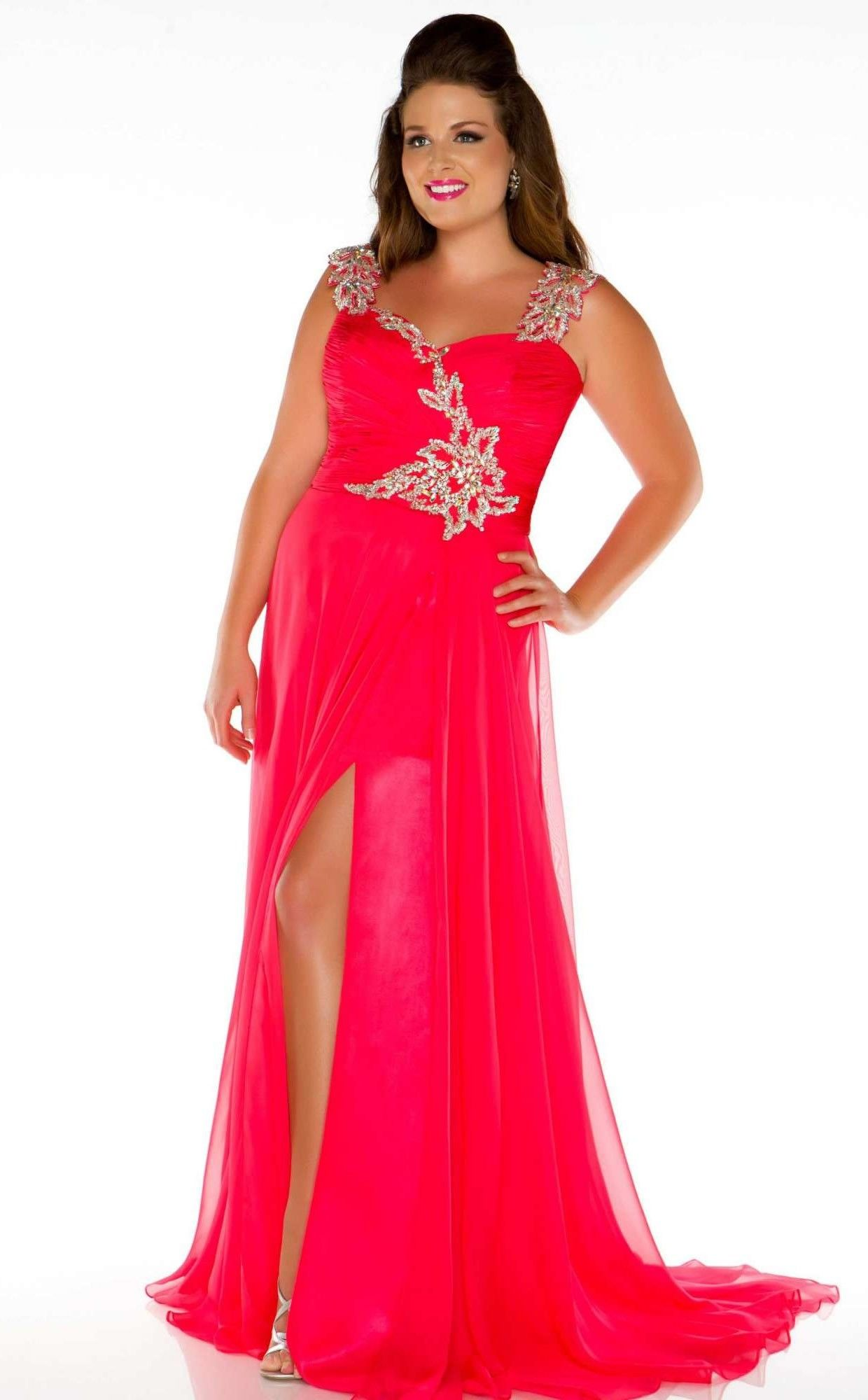 Plus Size Sleeveless Long Evening Formal Dress with Front Slit ...
