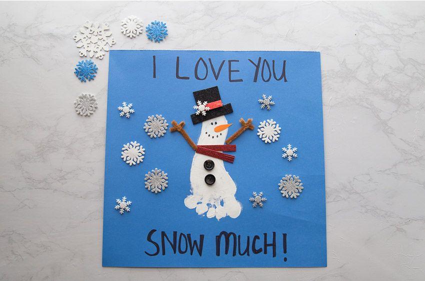 Footprint Snowman #mistletoesfootprintcraft