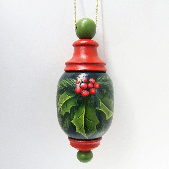 wood turning christmas ornaments   Christmas Ornament Turned Wood Hand by ...   Wood Turning